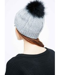 Helene Berman - Gray Beanie With Fox Fur Pom-poms - Lyst