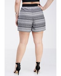 8d7c09fc4e Forever 21. Women s Black Plus Size Striped Southwestern Print Shorts ...