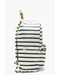 Sophie Hulme - Blue Off_white and Navy Leather Printed Stripe Backpack - Lyst