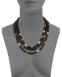 Chan Luu | Black Onyx & Crystal Triple-strand Necklace | Lyst