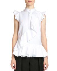 Erdem - White Camellia Pique-knit Poplin Peplum Top - Lyst