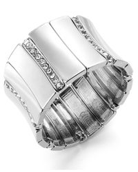 INC International Concepts | Metallic Crystal Pavé Wide Stretch Bracelet | Lyst