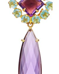 Bounkit | Multicolor Faceted Amethyst And Blue Topaz Drop Earrings | Lyst