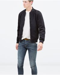 Zara | Blue Mixed Fabric Jacket for Men | Lyst