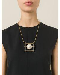 Lanvin   Metallic Pearl Pendant Necklace   Lyst