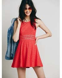 Free People - Red Womens Fitted With Daisies Dress - Lyst