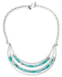 Robert Lee Morris - Blue Silver-tone Turquoise-colored Bead Multi-row Frontal Necklace - Lyst