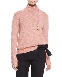 Victoria Beckham - Red Melange Knit Lace-up Shoulder Sweater - Lyst