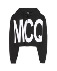 McQ - Black Cropped Cotton Hoodie - Lyst