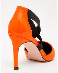 ASOS - Sterling Pointed Heels - Orange Patent/black - Lyst