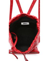 MM6 by Maison Martin Margiela - Red Drawstring Backpack - Black - Lyst