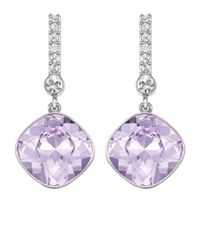 Swarovski | Purple Artisan Silvertone And Lilac Crystal Drop Earrings | Lyst