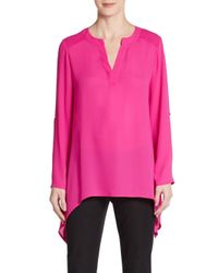 Chaus New York | Pink Roll-tab Blouse | Lyst