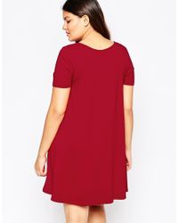 ASOS | Red Button Front Swing Dress | Lyst