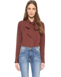 FRAME - Brown Le Bow Tie Shirt - Gardena - Lyst