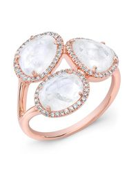 Anne Sisteron | Pink 14kt Rose Gold Moonstone Diamond Trinity Ring | Lyst
