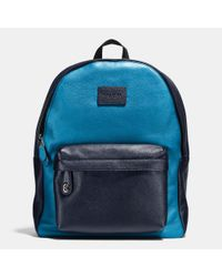 COACH | Black Campus Backpack In Colorblock Refined Pebble Leather for Men | Lyst