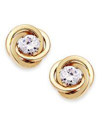 Macy's | Metallic Cubic Zirconia Love Knot Earrings In 10k Gold (1/10 Ct. T.w.) | Lyst
