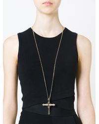Givenchy | Metallic Chunky Cross Pendant Necklace | Lyst