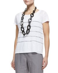 Eileen Fisher | Gray Capsleeve Striped Top | Lyst