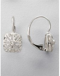 Nadri | Metallic Silvertone Square Deco Crystal Drop Earrings | Lyst