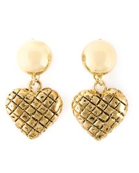 Moschino | Metallic Heart Drop Earrings | Lyst