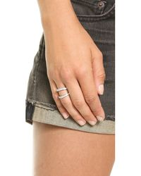 Fallon - Metallic Pave Split Ring Silver - Lyst