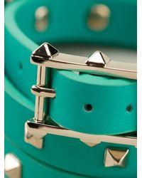 Valentino | Green Rockstud Bracelet | Lyst