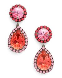DANNIJO | Pink 'monaco' Swarovski Crystal Pendant Earrings | Lyst