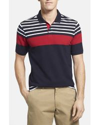 Victorinox - Blue 'phoebus' Stripe Pique Polo for Men - Lyst
