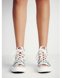 Free People - Red Archive Print Hi Tops - Lyst