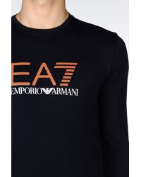 EA7 | Blue T-shirt In Stretch Cotton Jersey for Men | Lyst