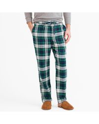 J.Crew | Green Flannel Pajama Pant In Blue Tartan for Men | Lyst