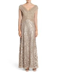 Tadashi Shoji | Natural Sequin-Detail Lace Gown | Lyst