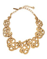 Oscar de la Renta | Metallic Golden Swirl Statement Necklace | Lyst
