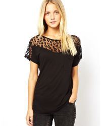 French Connection | Black Mesh Mix T-Shirt | Lyst