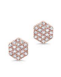 Anne Sisteron - Pink 14kt Rose Gold Hexagon Diamond Stud Earrings - Lyst