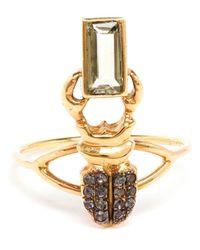 Daniela Villegas | Metallic Emerald And Sapphire Beetle Ring | Lyst