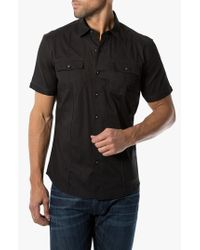 7 Diamonds | Black 'american Band' Trim Fit Cotton Sport Shirt for Men | Lyst