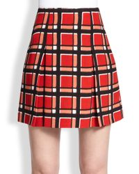 Marc By Marc Jacobs - Orange Plaid Pleated Mini Skirt - Lyst