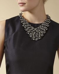 Jaeger - Metallic Beaded Bib Necklace - Lyst