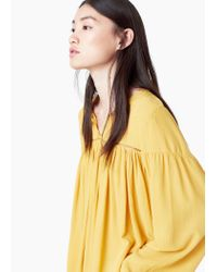 Mango - Yellow Openwork Detail Blouse - Lyst