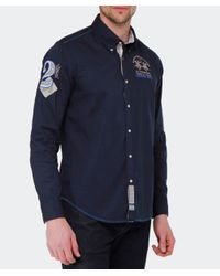 La Martina - Blue Long Sleeved Logo Shirt for Men - Lyst