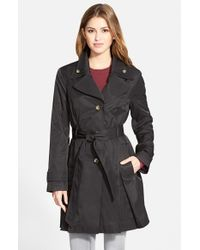 London Fog | Black Double Collar Belted Trench Coat | Lyst