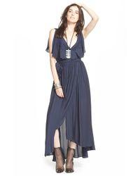 Free People Blue Chiffon 'fiona' Sleeveless Maxi Dress