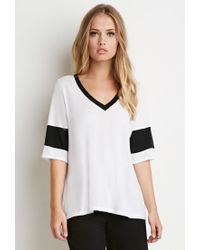 Forever 21 | White Striped V-neck Tee | Lyst