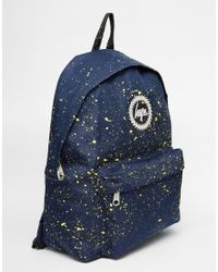 Hype - Blue Speckled Backpack In Navy And Yellow - Lyst