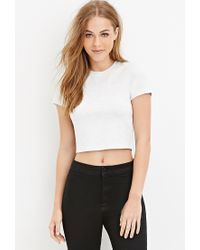 Forever 21 - Gray Heathered Crop Top - Lyst