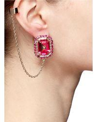 Valentino - Pink Chain Helix Cuff Single Rhinestone Earring - Lyst
