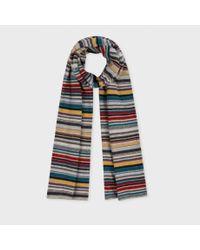 Paul Smith | Gray Multistripe Knit Scarf | Lyst